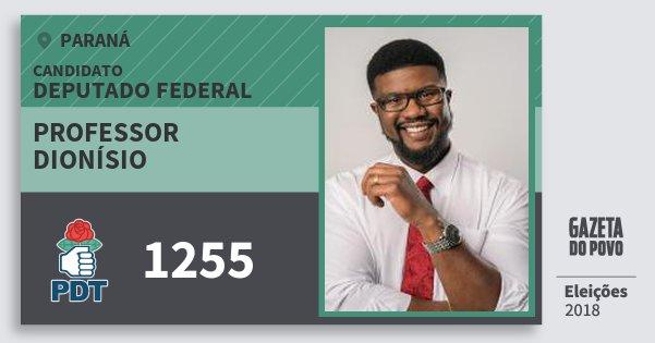 Santinho Professor Dionísio 1255 (PDT) Deputado Federal | Paraná | Eleições 2018