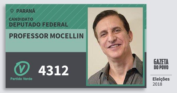 Santinho Professor Mocellin 4312 (PV) Deputado Federal | Paraná | Eleições 2018