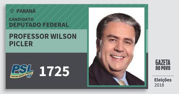 Santinho Professor Wilson Picler 1725 (PSL) Deputado Federal | Paraná | Eleições 2018