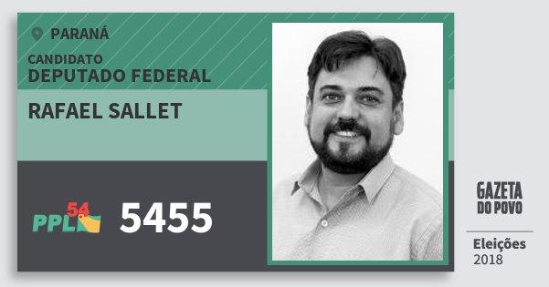 Santinho Rafael Sallet 5455 (PPL) Deputado Federal | Paraná | Eleições 2018
