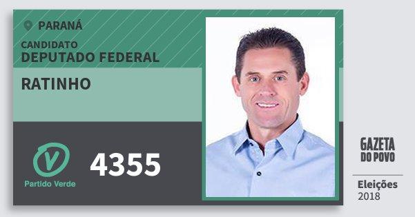 Santinho Ratinho 4355 (PV) Deputado Federal | Paraná | Eleições 2018