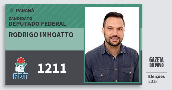 Santinho Rodrigo Inhoatto 1211 (PDT) Deputado Federal | Paraná | Eleições 2018