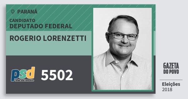 Santinho Rogerio Lorenzetti 5502 (PSD) Deputado Federal | Paraná | Eleições 2018