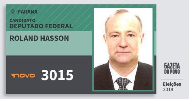 Santinho Roland Hasson 3015 (NOVO) Deputado Federal | Paraná | Eleições 2018