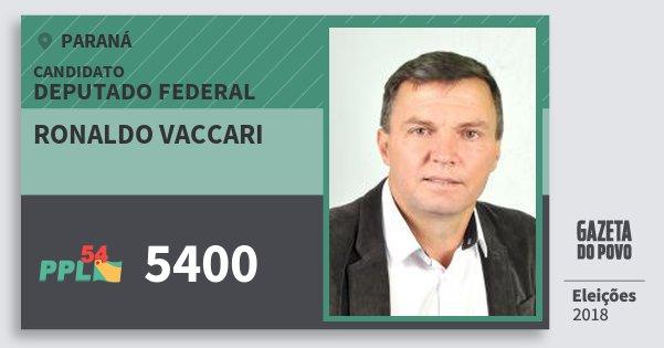 Santinho Ronaldo Vaccari 5400 (PPL) Deputado Federal | Paraná | Eleições 2018
