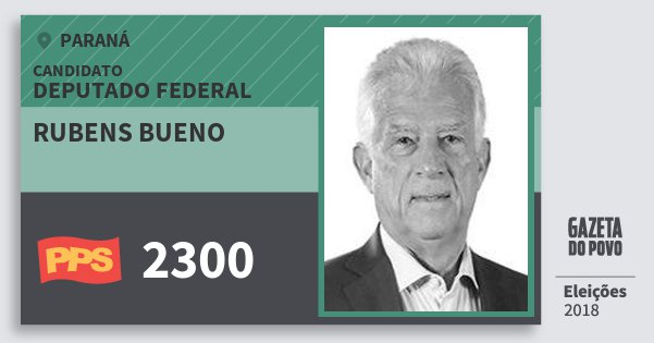 Santinho Rubens Bueno 2300 (PPS) Deputado Federal | Paraná | Eleições 2018