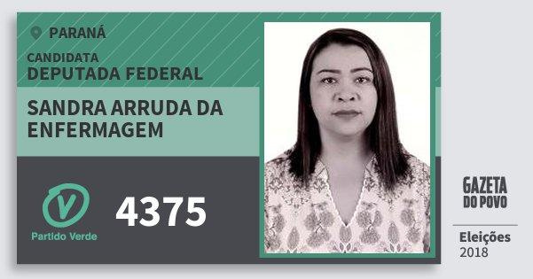 Santinho Sandra Arruda da Enfermagem 4375 (PV) Deputada Federal | Paraná | Eleições 2018