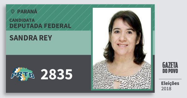 Santinho Sandra Rey 2835 (PRTB) Deputada Federal | Paraná | Eleições 2018