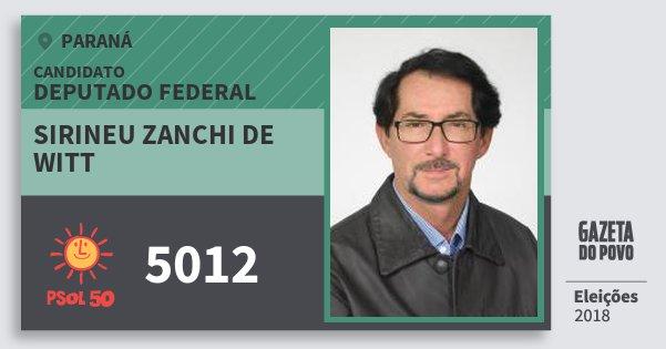 Santinho Sirineu Zanchi de Witt 5012 (PSOL) Deputado Federal | Paraná | Eleições 2018