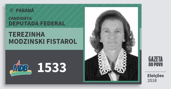 Santinho Terezinha Modzinski Fistarol 1533 (MDB) Deputada Federal | Paraná | Eleições 2018