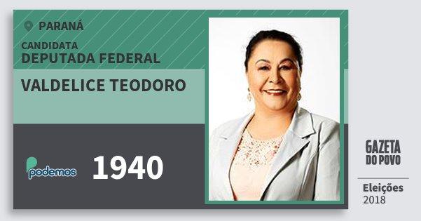 Santinho Valdelice Teodoro 1940 (PODE) Deputada Federal | Paraná | Eleições 2018