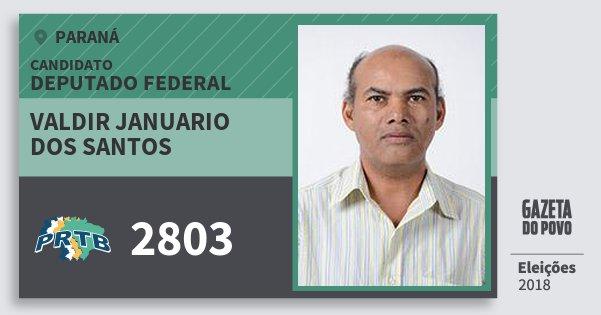 Santinho Valdir Januario dos Santos 2803 (PRTB) Deputado Federal | Paraná | Eleições 2018