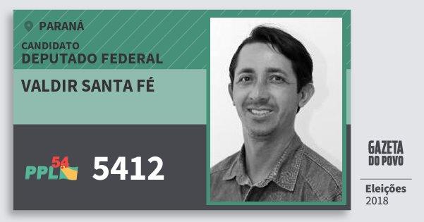 Santinho Valdir Santa Fé 5412 (PPL) Deputado Federal | Paraná | Eleições 2018