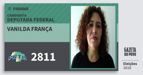 Santinho Vanilda França 2811 (PRTB) Deputada Federal   Paraná   Eleições 2018
