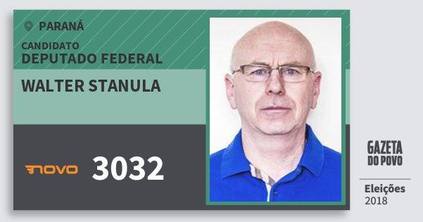 Santinho Walter Stanula 3032 (NOVO) Deputado Federal | Paraná | Eleições 2018