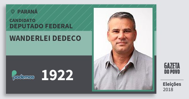 Santinho Wanderlei Dedeco 1922 (PODE) Deputado Federal | Paraná | Eleições 2018