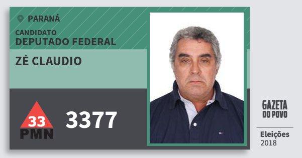 Santinho Zé Claudio 3377 (PMN) Deputado Federal | Paraná | Eleições 2018