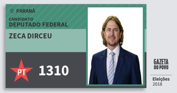 Santinho Zeca Dirceu 1310 (PT) Deputado Federal | Paraná | Eleições 2018