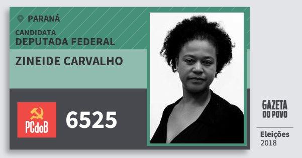 Santinho Zineide Carvalho 6525 (PC do B) Deputada Federal | Paraná | Eleições 2018