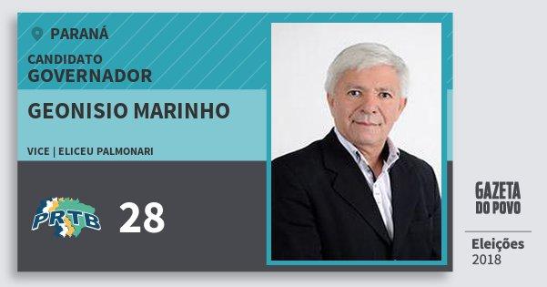 Santinho Geonisio Marinho 28 (PRTB) Governador   Paraná   Eleições 2018