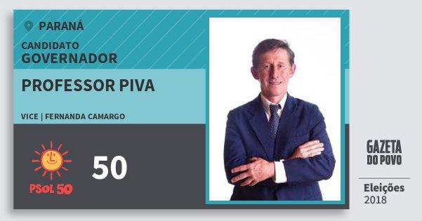 Santinho Professor Piva 50 (PSOL) Governador | Paraná | Eleições 2018