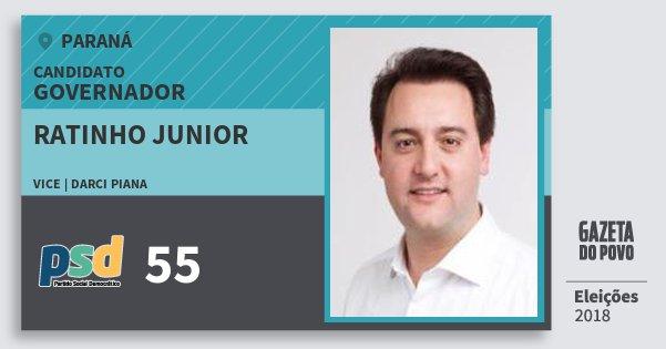Santinho Ratinho Junior 55 (PSD) Governador | Paraná | Eleições 2018