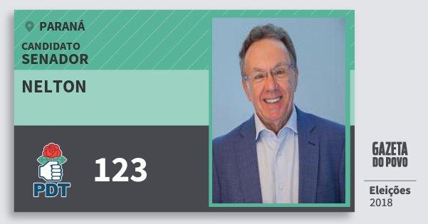 Santinho Nelton 123 (PDT) Senador | Paraná | Eleições 2018