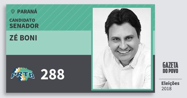 Santinho Zé Boni 288 (PRTB) Senador | Paraná | Eleições 2018