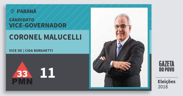 Santinho Coronel Malucelli 11 (PMN) Vice-governador | Paraná | Eleições 2018