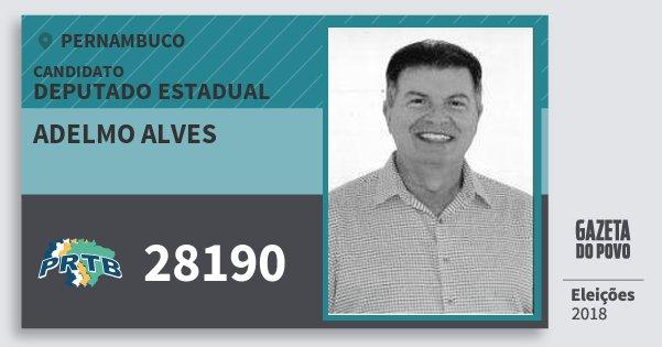 Santinho Adelmo Alves 28190 (PRTB) Deputado Estadual | Pernambuco | Eleições 2018