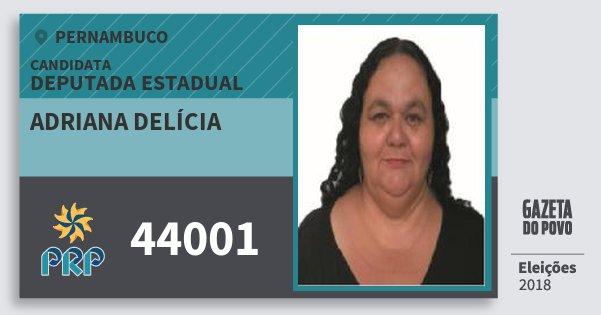 Santinho Adriana Delícia 44001 (PRP) Deputada Estadual | Pernambuco | Eleições 2018