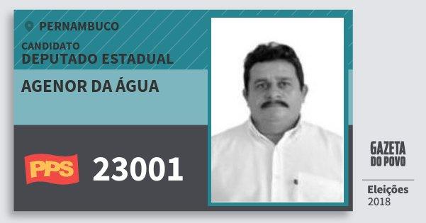 Santinho Agenor da Água 23001 (PPS) Deputado Estadual | Pernambuco | Eleições 2018