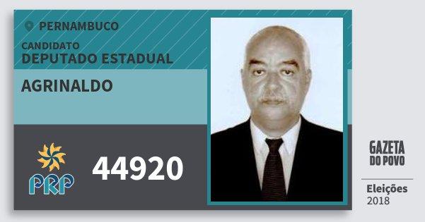 Santinho Agrinaldo 44920 (PRP) Deputado Estadual | Pernambuco | Eleições 2018