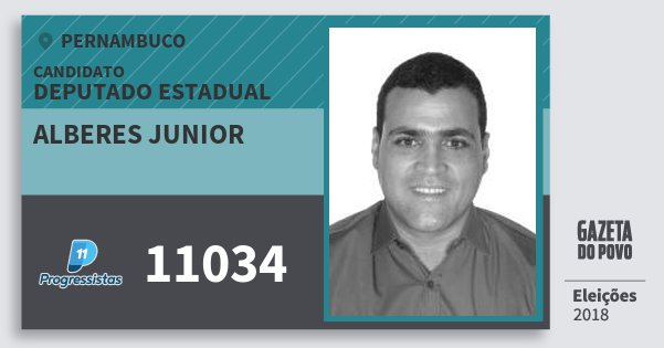 Santinho Alberes Junior 11034 (PP) Deputado Estadual | Pernambuco | Eleições 2018