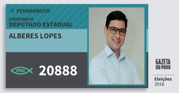 Santinho Alberes Lopes 20888 (PSC) Deputado Estadual | Pernambuco | Eleições 2018
