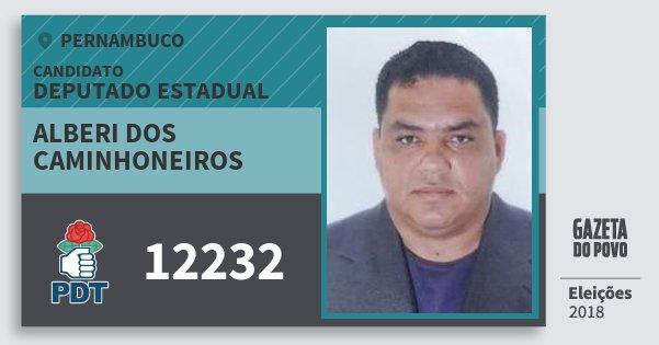 Santinho Alberi dos Caminhoneiros 12232 (PDT) Deputado Estadual | Pernambuco | Eleições 2018