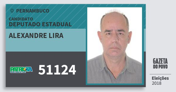 Santinho Alexandre Lira 51124 (PATRI) Deputado Estadual | Pernambuco | Eleições 2018