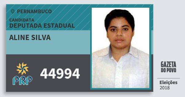 Santinho Aline Silva 44994 (PRP) Deputada Estadual | Pernambuco | Eleições 2018