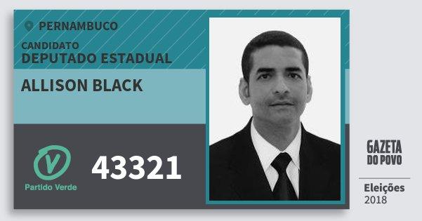 Santinho Allison Black 43321 (PV) Deputado Estadual | Pernambuco | Eleições 2018