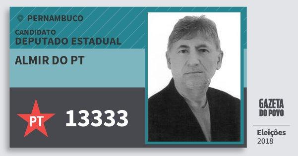 Santinho Almir do Pt 13333 (PT) Deputado Estadual | Pernambuco | Eleições 2018