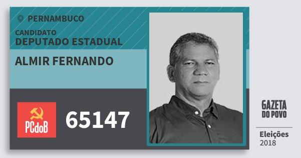 Santinho Almir Fernando 65147 (PC do B) Deputado Estadual | Pernambuco | Eleições 2018