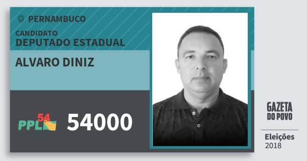 Santinho Alvaro Diniz 54000 (PPL) Deputado Estadual | Pernambuco | Eleições 2018