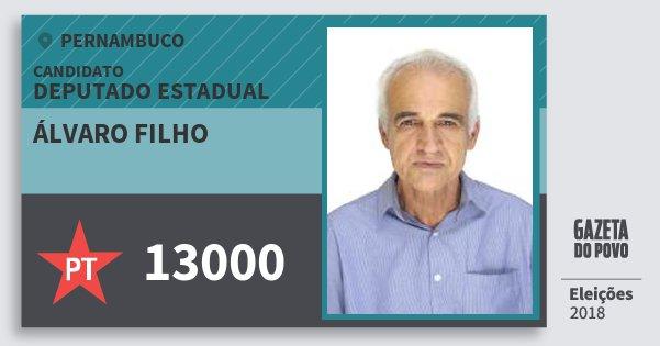 Santinho Álvaro Filho 13000 (PT) Deputado Estadual | Pernambuco | Eleições 2018