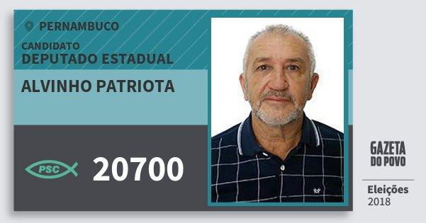Santinho Alvinho Patriota 20700 (PSC) Deputado Estadual | Pernambuco | Eleições 2018