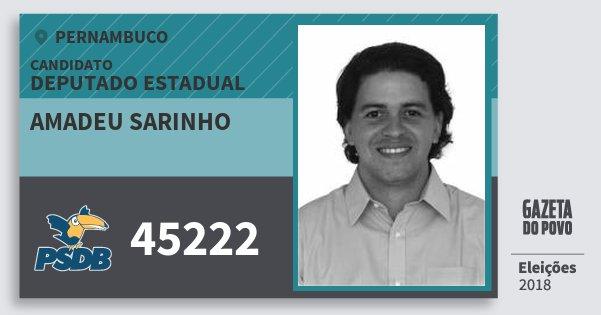 Santinho Amadeu Sarinho 45222 (PSDB) Deputado Estadual | Pernambuco | Eleições 2018
