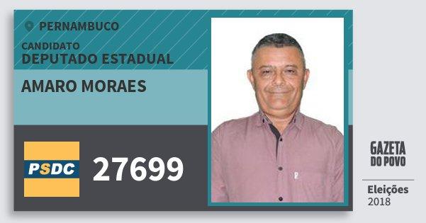 Santinho Amaro Moraes 27699 (DC) Deputado Estadual | Pernambuco | Eleições 2018