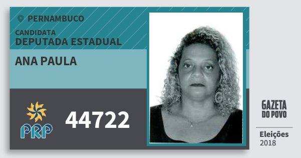 Santinho Ana Paula 44722 (PRP) Deputada Estadual | Pernambuco | Eleições 2018