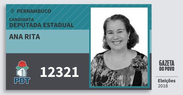 Santinho Ana Rita 12321 (PDT) Deputada Estadual | Pernambuco | Eleições 2018