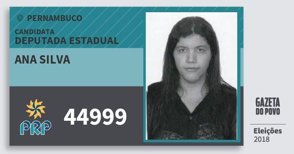 Santinho Ana Silva 44999 (PRP) Deputada Estadual   Pernambuco   Eleições 2018