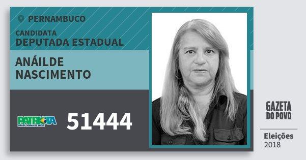Santinho Anáilde Nascimento 51444 (PATRI) Deputada Estadual | Pernambuco | Eleições 2018